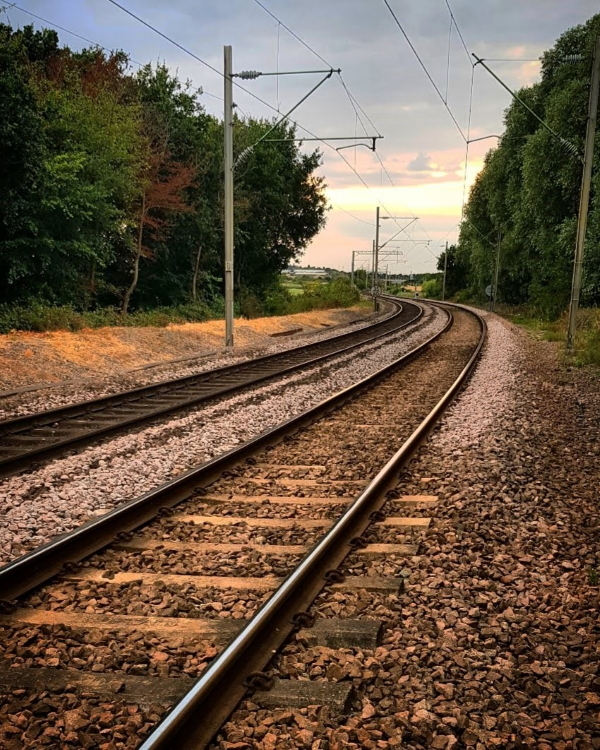Image: Empty train tracks leading into the distance