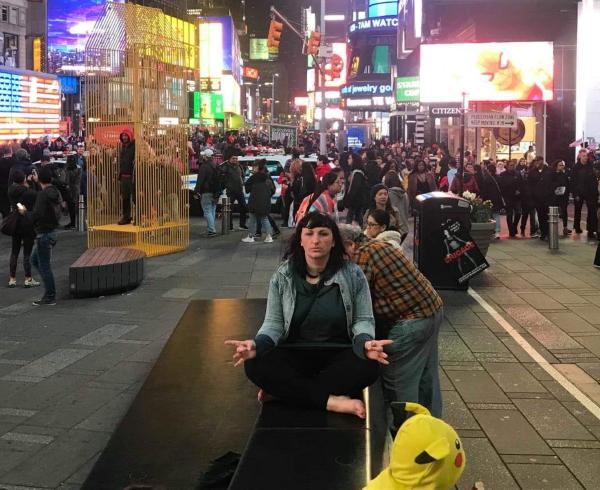 A thoughtful Bozena in Times Square