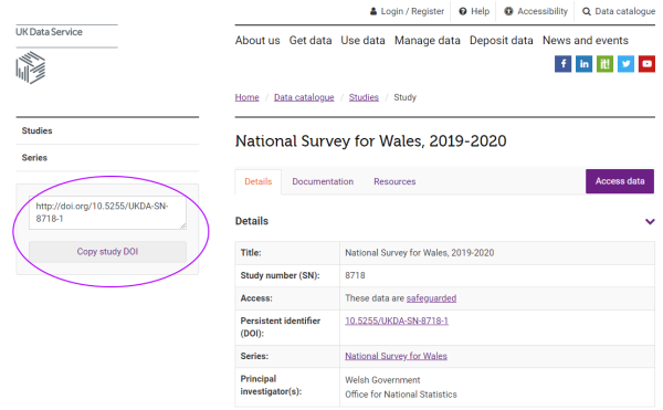 UK Data Service catalogue page for NAtional Survey for Wales, with DOI tool highlighted