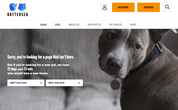 Image: Error 404 page for Battersea Dogs and Cats Home