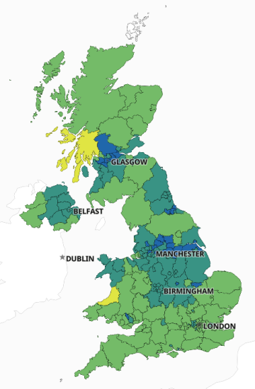 Snapshot of interactive map on UK Government Coronavirus dashboard, seven–day rolling rate of new cases by specimen date ending on 11 Mar 2021
