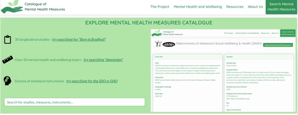 screenshot of the Catalogue of Mental Health