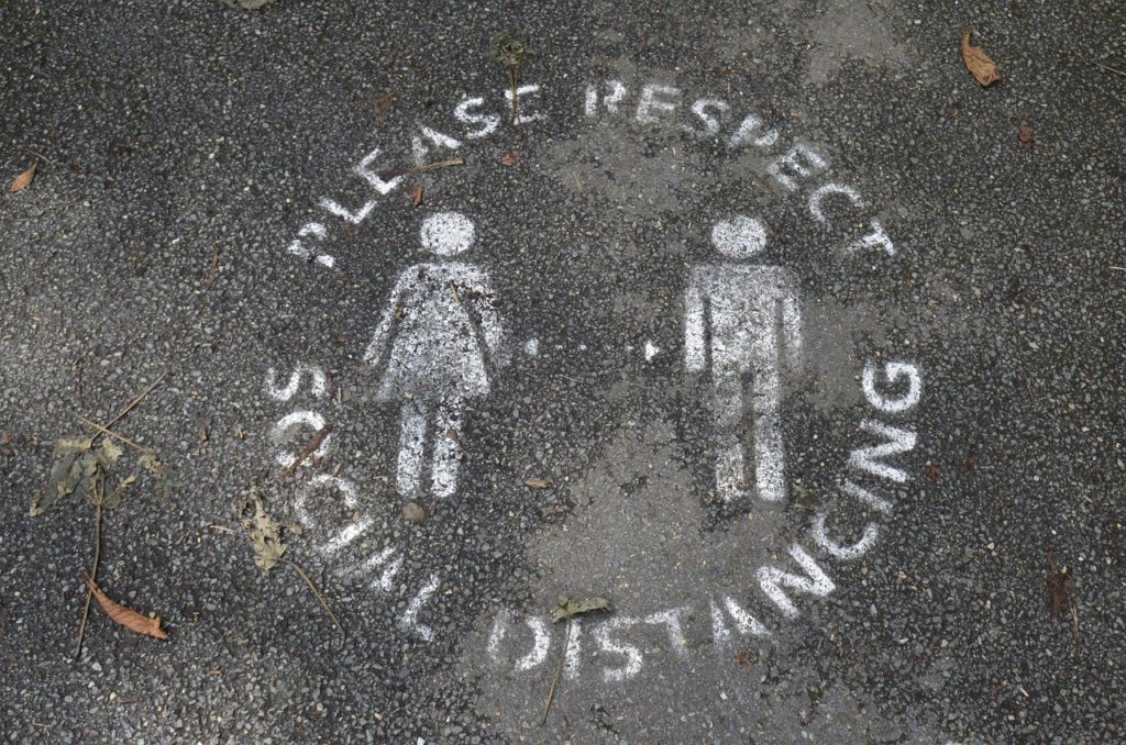 social distancing stencil on ground